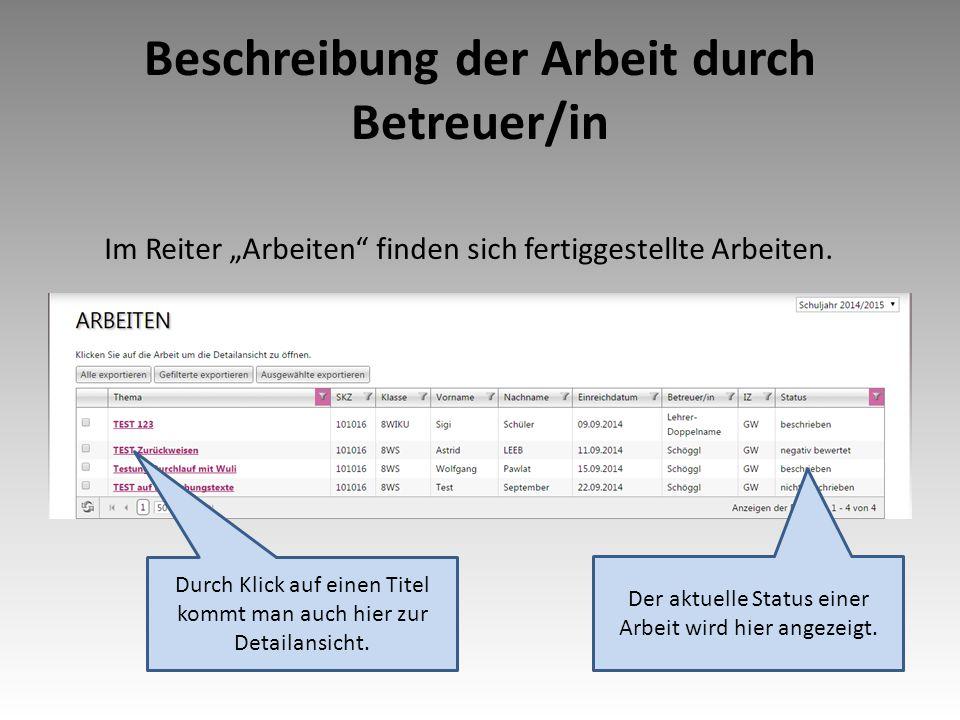 """Beschreibung der Arbeit durch Betreuer/in Im Reiter """"Arbeiten finden sich fertiggestellte Arbeiten."""