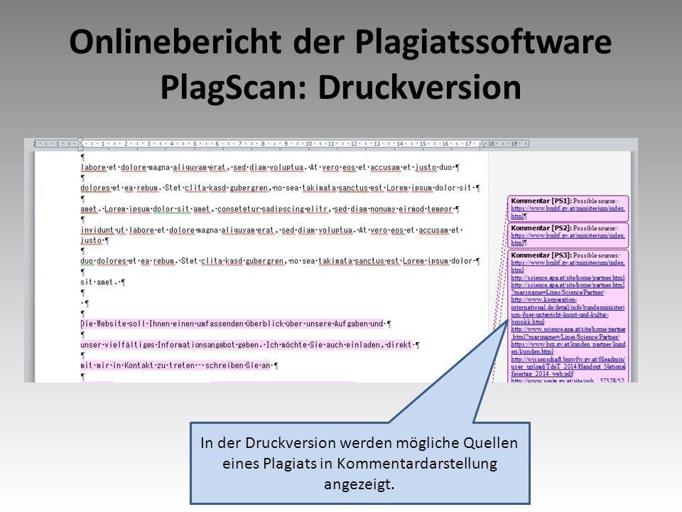 Onlinebericht der Plagiatssoftware PlagScan: Druckversion In der Druckversion werden mögliche Quellen eines Plagiats in Kommentardarstellung angezeigt.