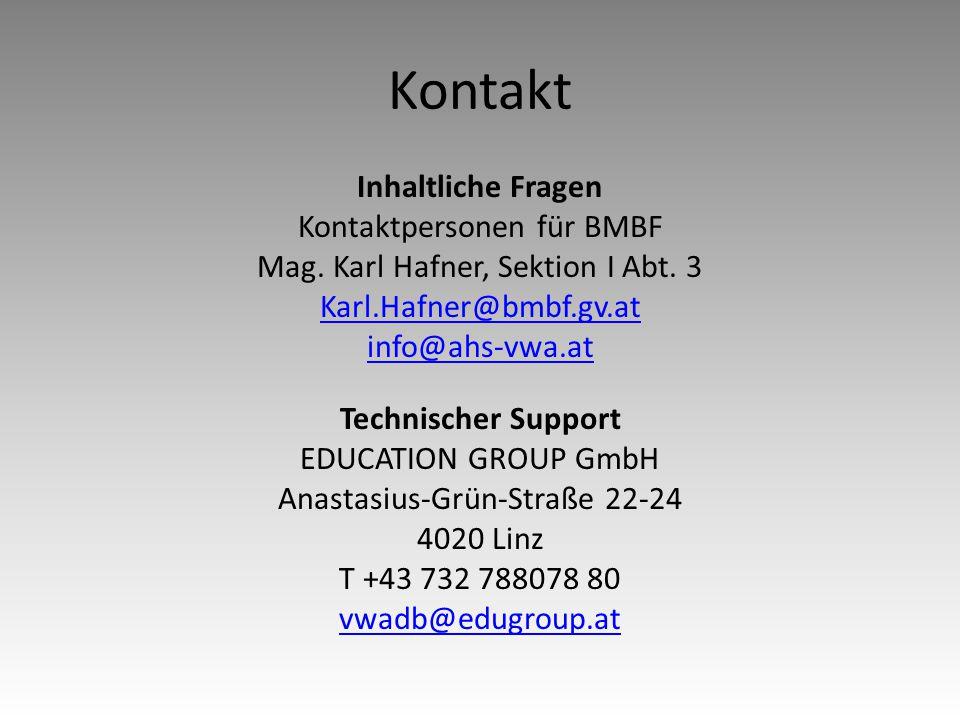 Kontakt Inhaltliche Fragen Kontaktpersonen für BMBF Mag.