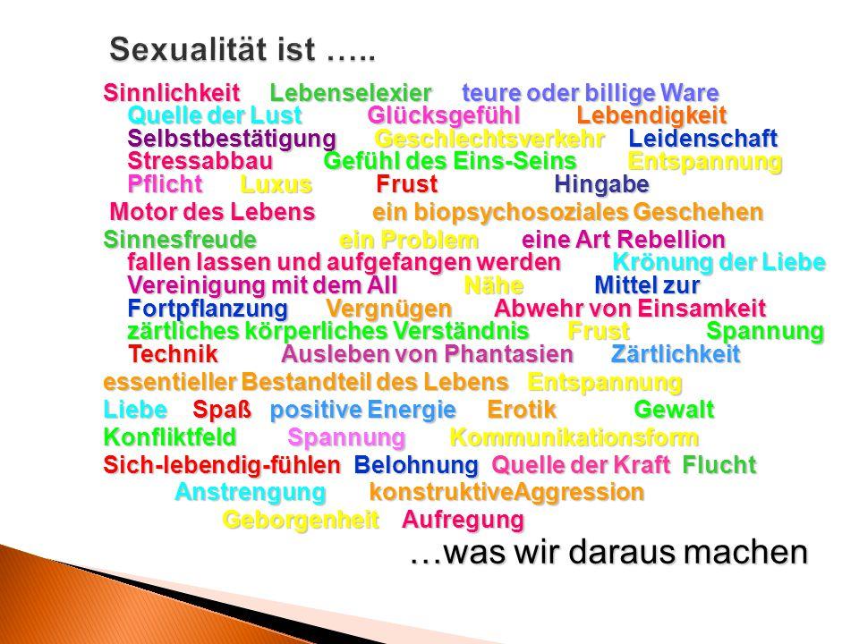 Sexualität ist ….. Sinnlichkeit Lebenselexierteure oder billige Ware Quelle der LustGlücksgefühl Lebendigkeit Selbstbestätigung Geschlechtsverkehr Lei
