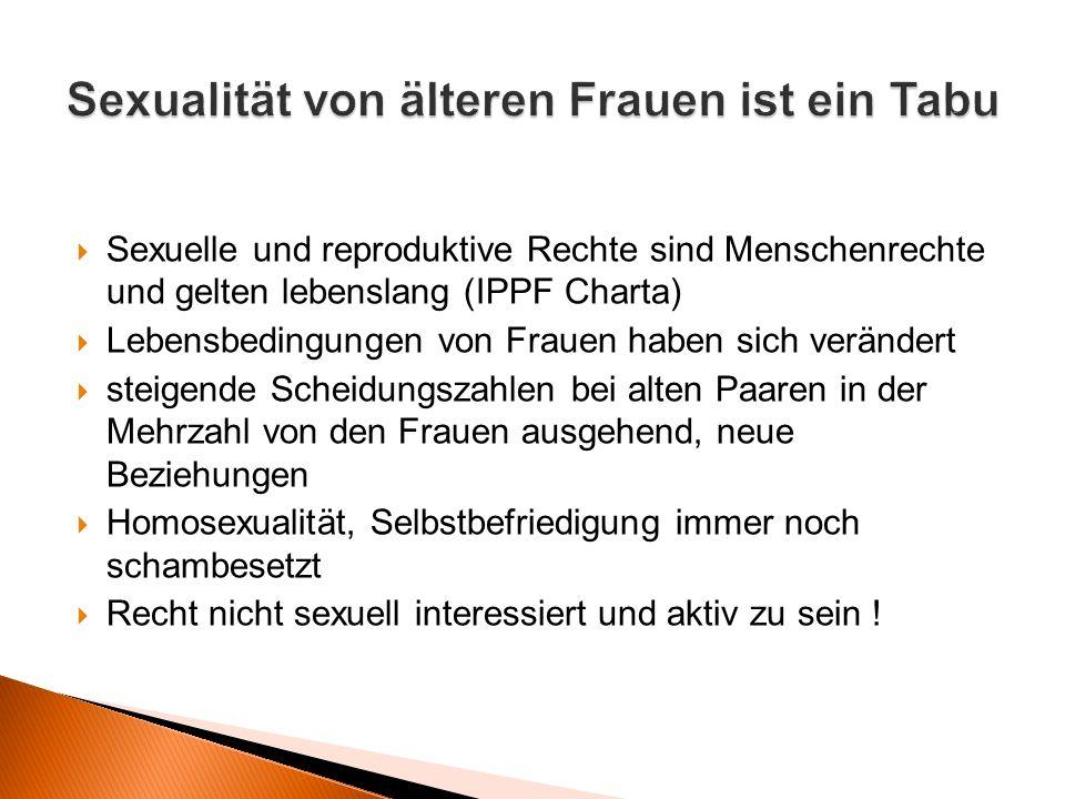  Sexuelle und reproduktive Rechte sind Menschenrechte und gelten lebenslang (IPPF Charta)  Lebensbedingungen von Frauen haben sich verändert  steig