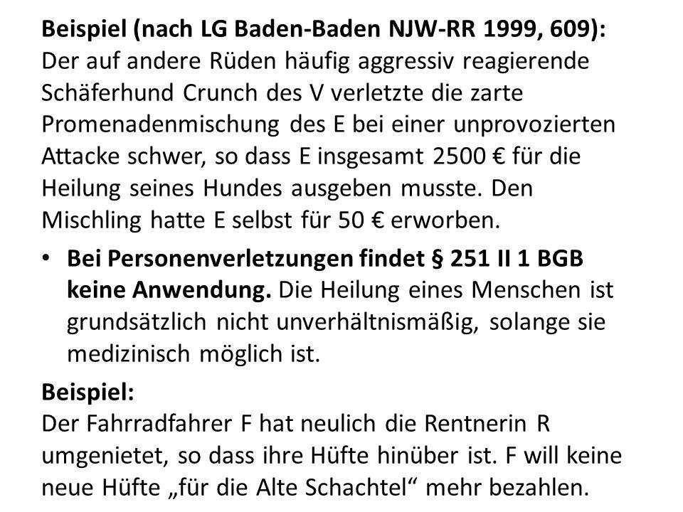 Beispiel (nach LG Baden-Baden NJW-RR 1999, 609): Der auf andere Rüden häufig aggressiv reagierende Schäferhund Crunch des V verletzte die zarte Promenadenmischung des E bei einer unprovozierten Attacke schwer, so dass E insgesamt 2500 € für die Heilung seines Hundes ausgeben musste.