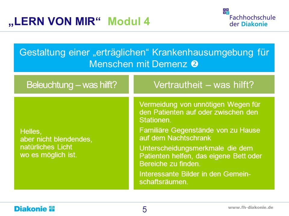 """www.fh-diakonie.de Gestaltung einer """"erträglichen Krankenhausumgebung für Menschen mit Demenz  6 """"LERN VON MIR Modul 4 Böden die nicht blendend reflektieren, einheitlicher Farbe bei der z."""
