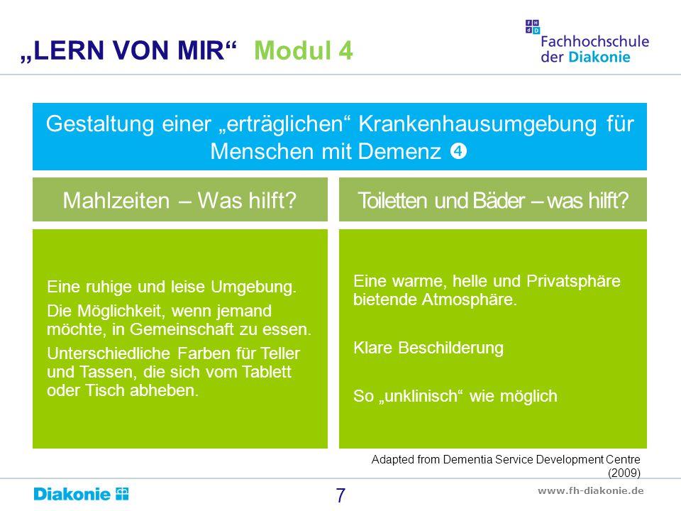 "www.fh-diakonie.de 8 ""LERN VON MIR Modul 4 The King's Fund Enhancing the Healing Environment Photo Library"