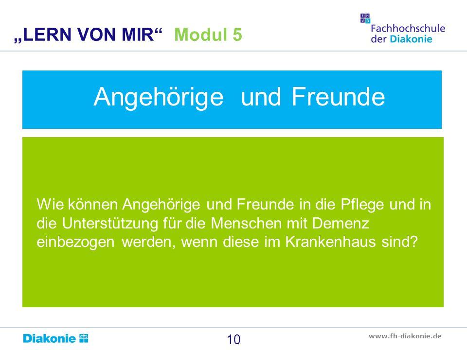 www.fh-diakonie.de Wie können Angehörige und Freunde in die Pflege und in die Unterstützung für die Menschen mit Demenz einbezogen werden, wenn diese