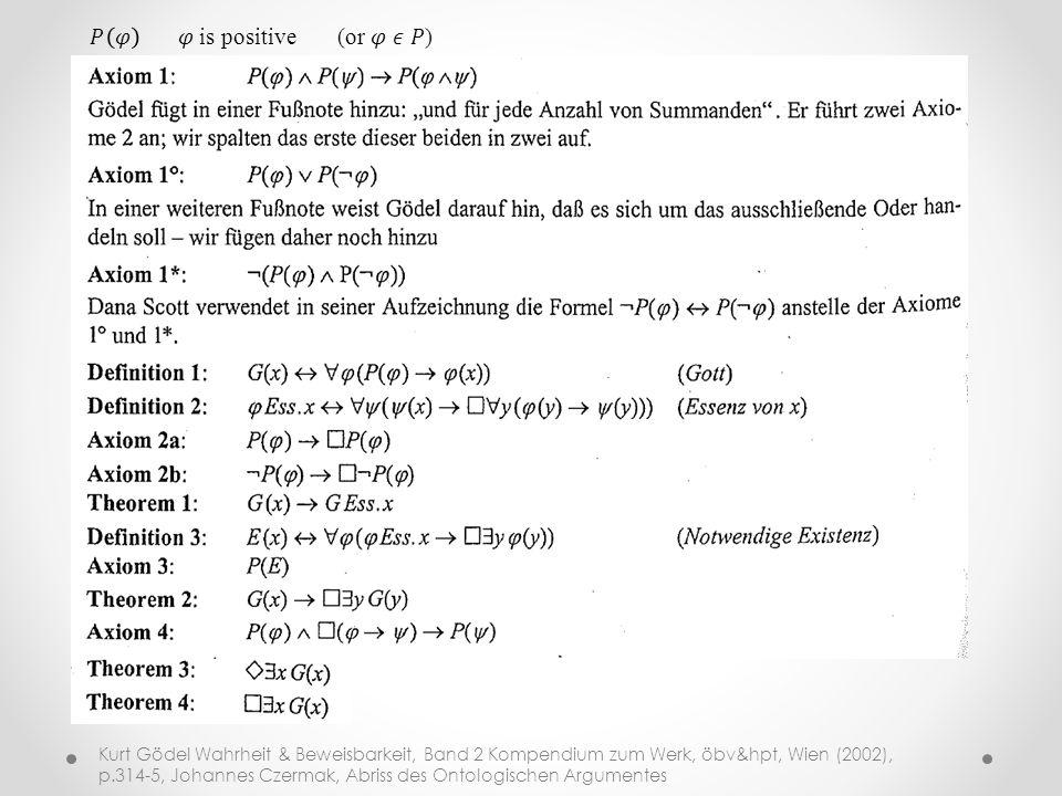 Kurt Gödel Wahrheit & Beweisbarkeit, Band 2 Kompendium zum Werk, öbv&hpt, Wien (2002), p.314-5, Johannes Czermak, Abriss des Ontologischen Argumentes