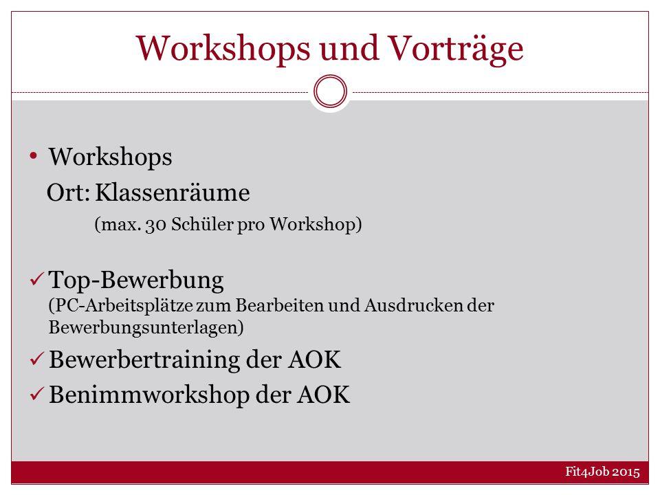 Workshops und Vorträge Workshops Ort:Klassenräume (max.