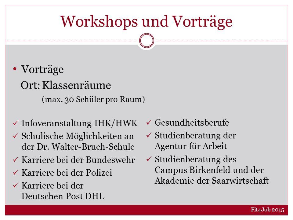 Workshops und Vorträge Vorträge Ort:Klassenräume (max.