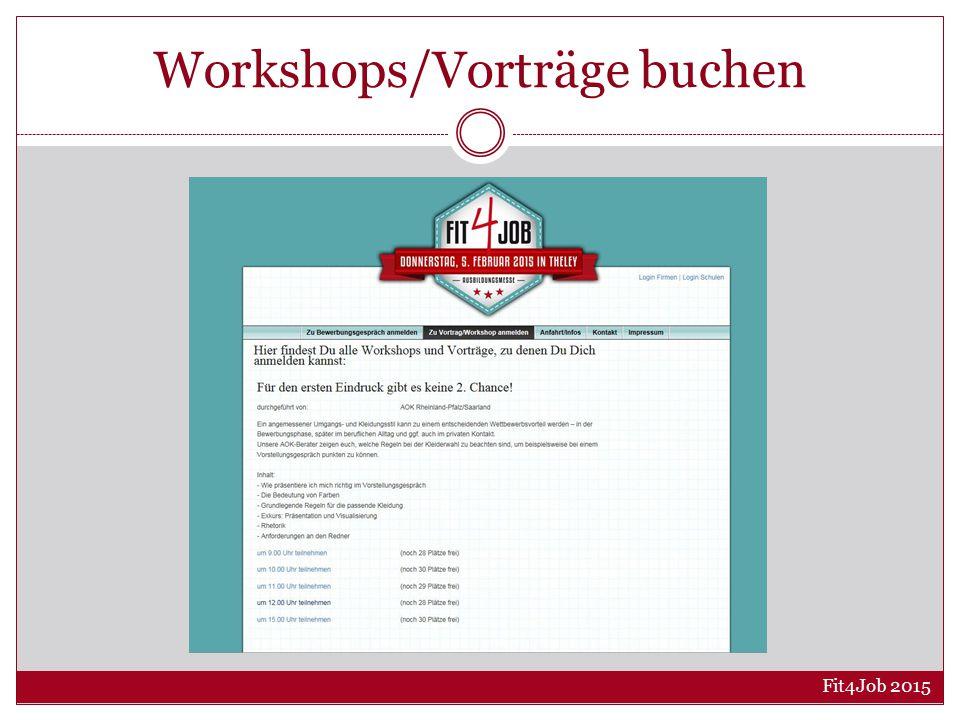 Workshops/Vorträge buchen Fit4Job 2015