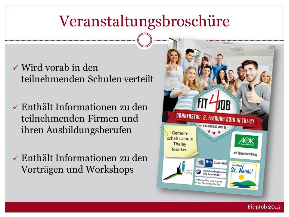 Veranstaltungsbroschüre Wird vorab in den teilnehmenden Schulen verteilt Enthält Informationen zu den teilnehmenden Firmen und ihren Ausbildungsberufen Enthält Informationen zu den Vorträgen und Workshops Fit4Job 2015