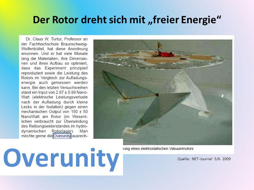 """Der Rotor dreht sich mit """"freier Energie"""" Quelle: NET-Journal 5/6 2009 Overunity"""