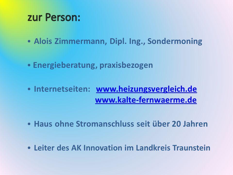 Alois Zimmermann, Dipl. Ing., Sondermoning Energieberatung, praxisbezogen Internetseiten: www.heizungsvergleich.dewww.heizungsvergleich.de www.kalte-f