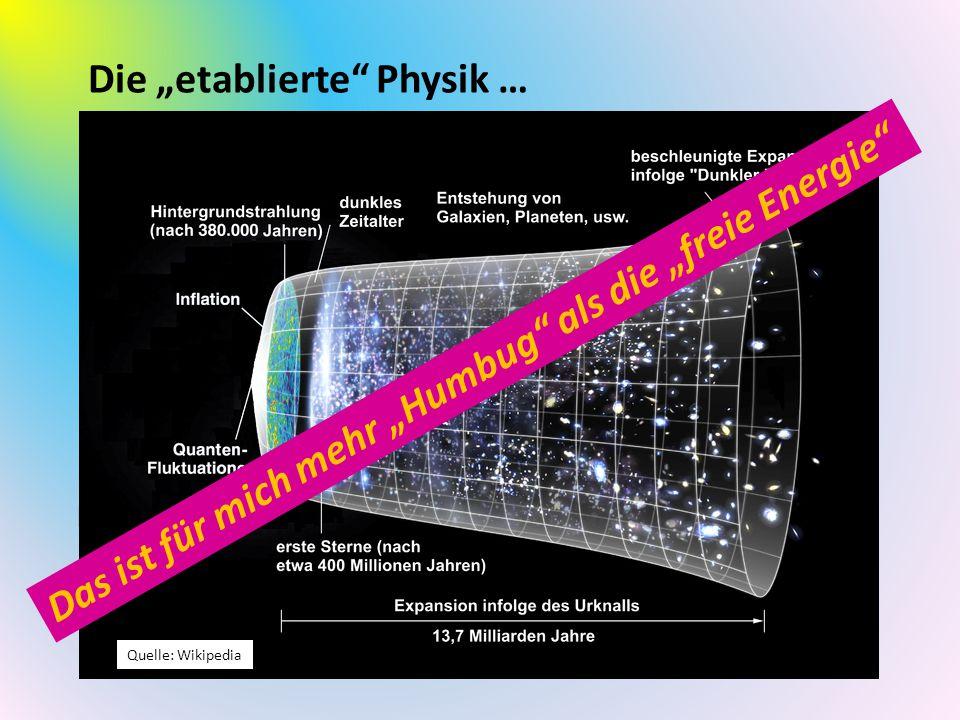 """Die """"etablierte"""" Physik … Die etablierte Wissenschaft erklärt alles in unserem Universum im sog. Standardmodell. Nur die ersten Sekunden nach dem Urkn"""