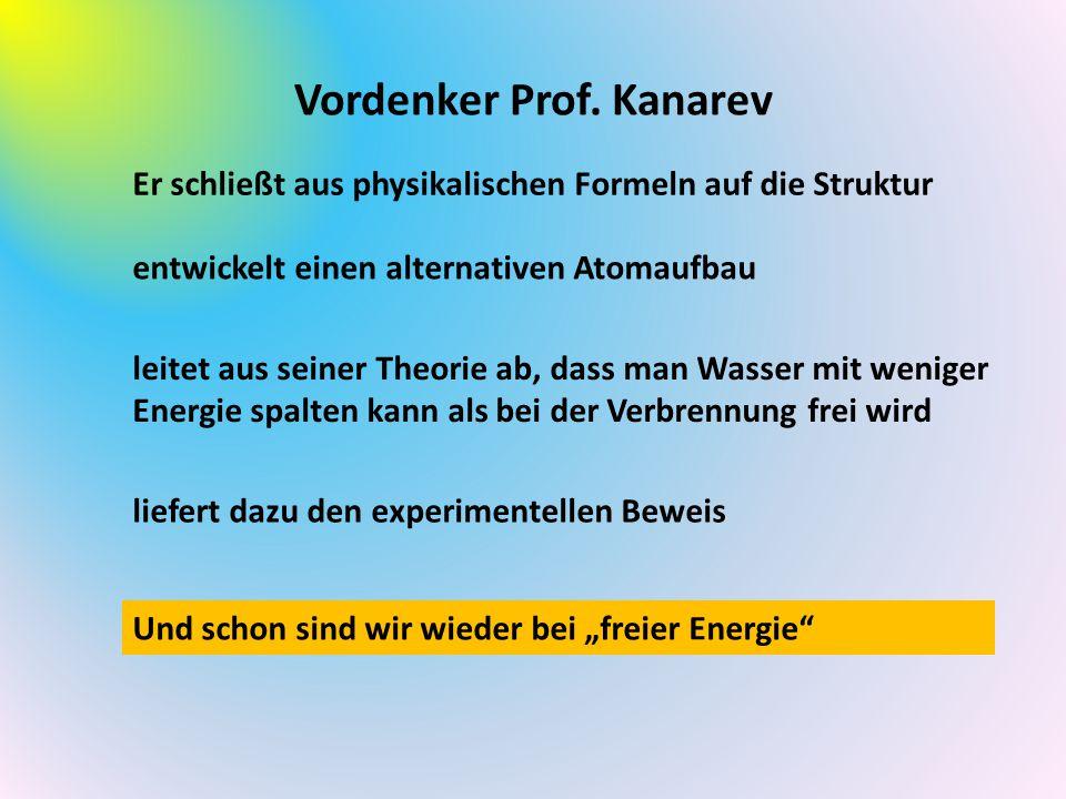 Vordenker Prof. Kanarev Er schließt aus physikalischen Formeln auf die Struktur entwickelt einen alternativen Atomaufbau leitet aus seiner Theorie ab,