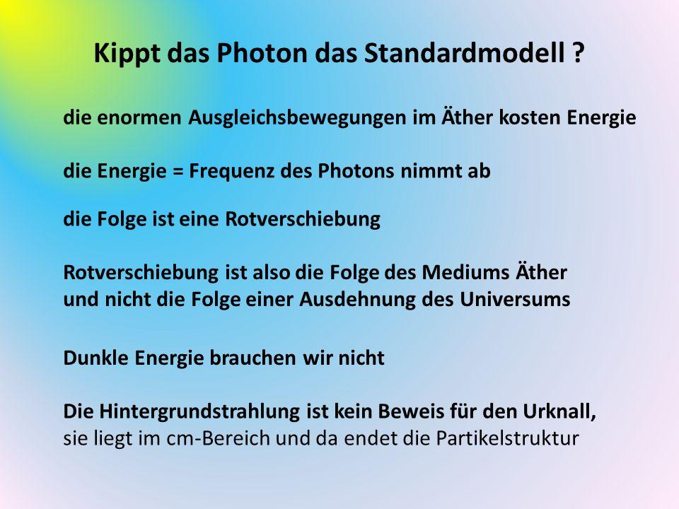 Kippt das Photon das Standardmodell ? die enormen Ausgleichsbewegungen im Äther kosten Energie die Energie = Frequenz des Photons nimmt ab die Folge i