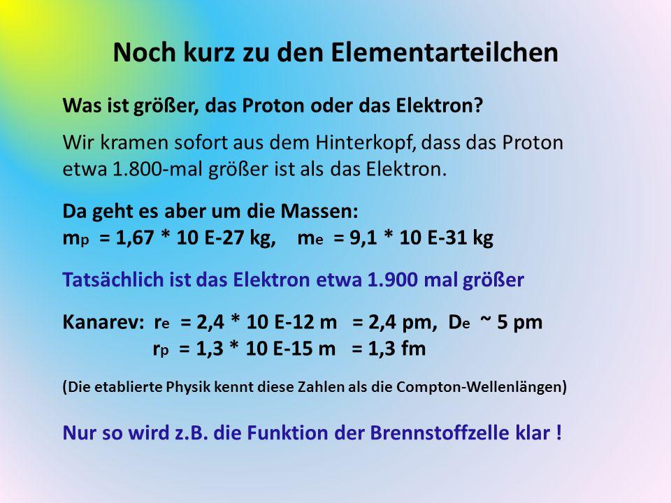 Noch kurz zu den Elementarteilchen Was ist größer, das Proton oder das Elektron? Wir kramen sofort aus dem Hinterkopf, dass das Proton etwa 1.800-mal