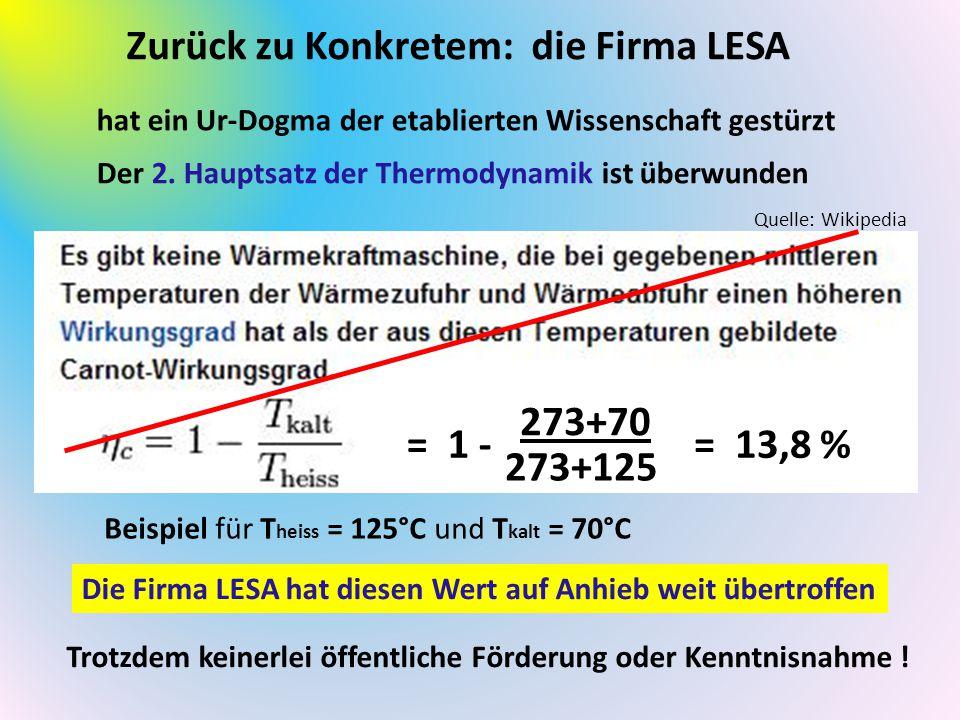 Zurück zu Konkretem: die Firma LESA hat ein Ur-Dogma der etablierten Wissenschaft gestürzt Der 2. Hauptsatz der Thermodynamik ist überwunden Trotzdem