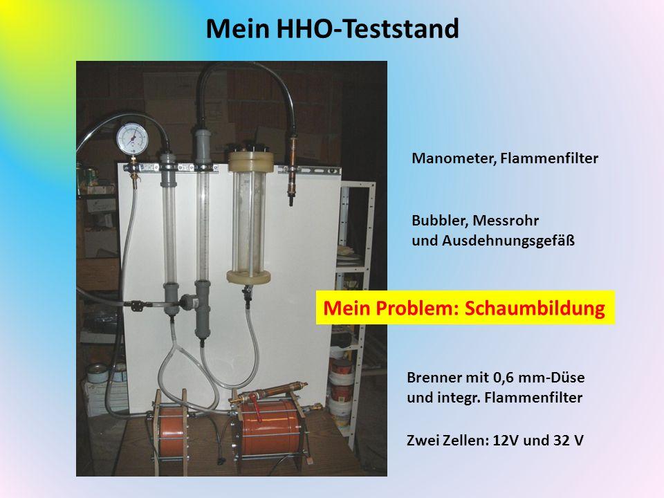 Mein HHO-Teststand Zwei Zellen: 12V und 32 V Bubbler, Messrohr und Ausdehnungsgefäß Manometer, Flammenfilter Brenner mit 0,6 mm-Düse und integr.