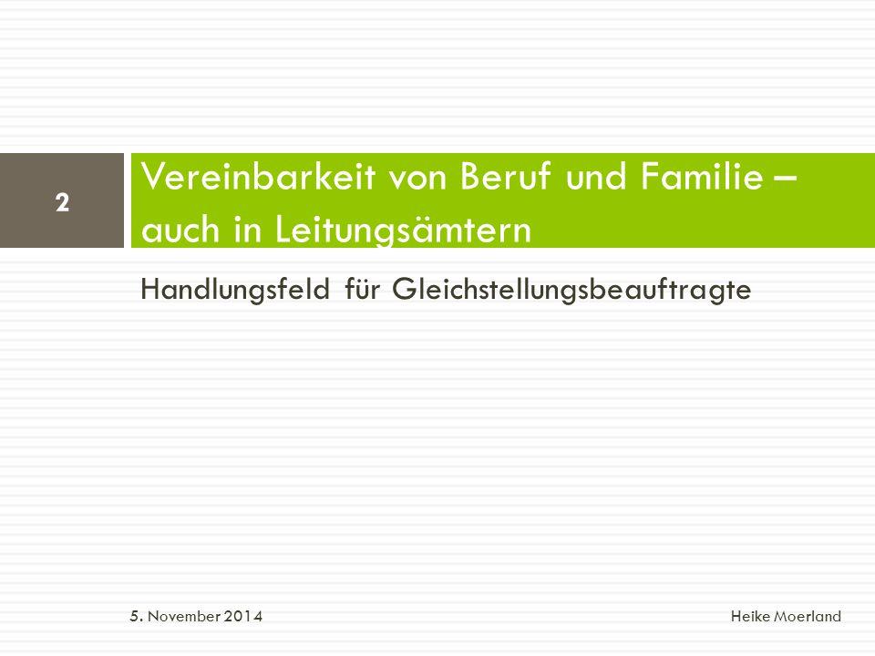 Vereinbarkeit von Beruf und Familie – auch in Leitungsämtern Handlungsfeld für Gleichstellungsbeauftragte Gliederung: 1.
