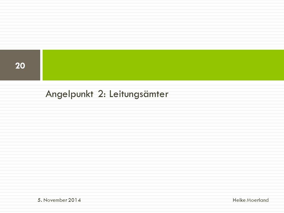 Angelpunkt 2: Leitungsämter 5. November 2014 Heike Moerland 20
