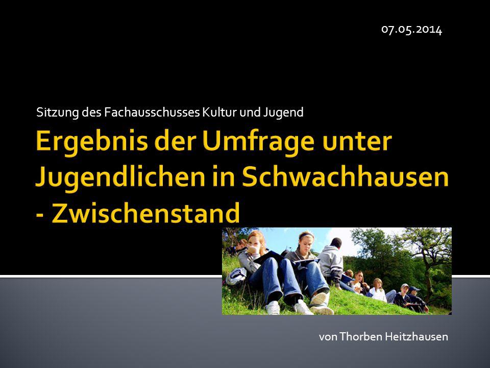  Umfrage insgesamt unter 206 Jugendlichen  93 davon kamen aus Schwachhausen  Auswertung in drei Gruppen:  12-14 Jährige  15+16 Jährige  17+18 Jährige