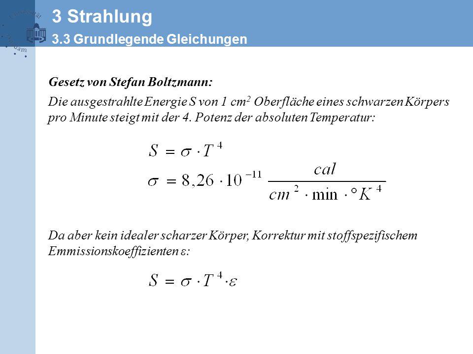 Gesetz von Stefan Boltzmann: Die ausgestrahlte Energie S von 1 cm 2 Oberfläche eines schwarzen Körpers pro Minute steigt mit der 4.