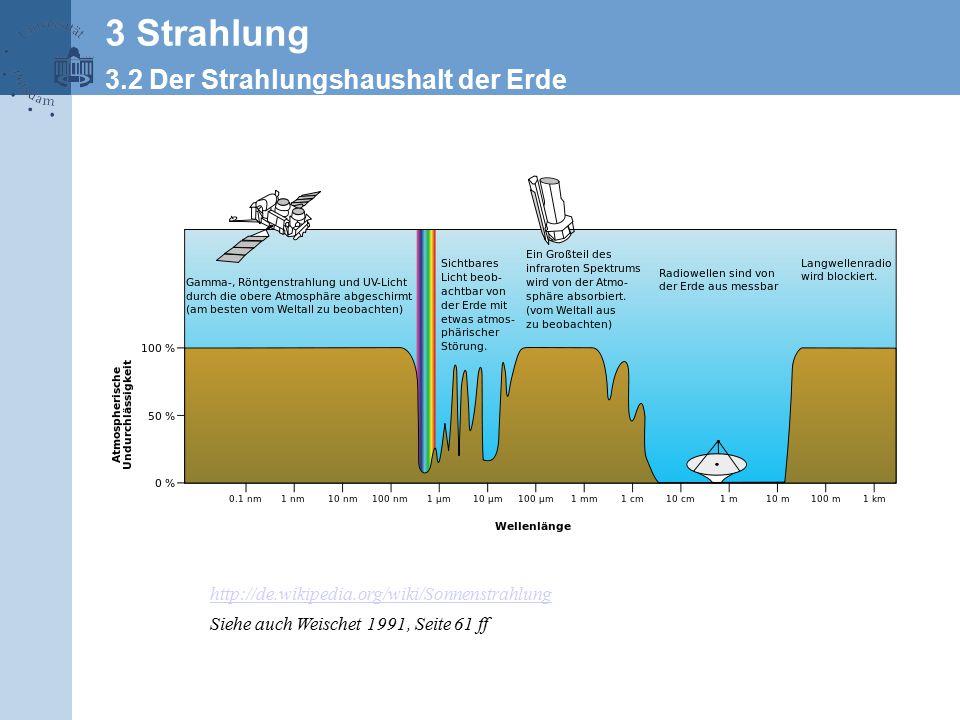 http://de.wikipedia.org/wiki/Sonnenstrahlung Siehe auch Weischet 1991, Seite 61 ff 3 Strahlung 3.2 Der Strahlungshaushalt der Erde