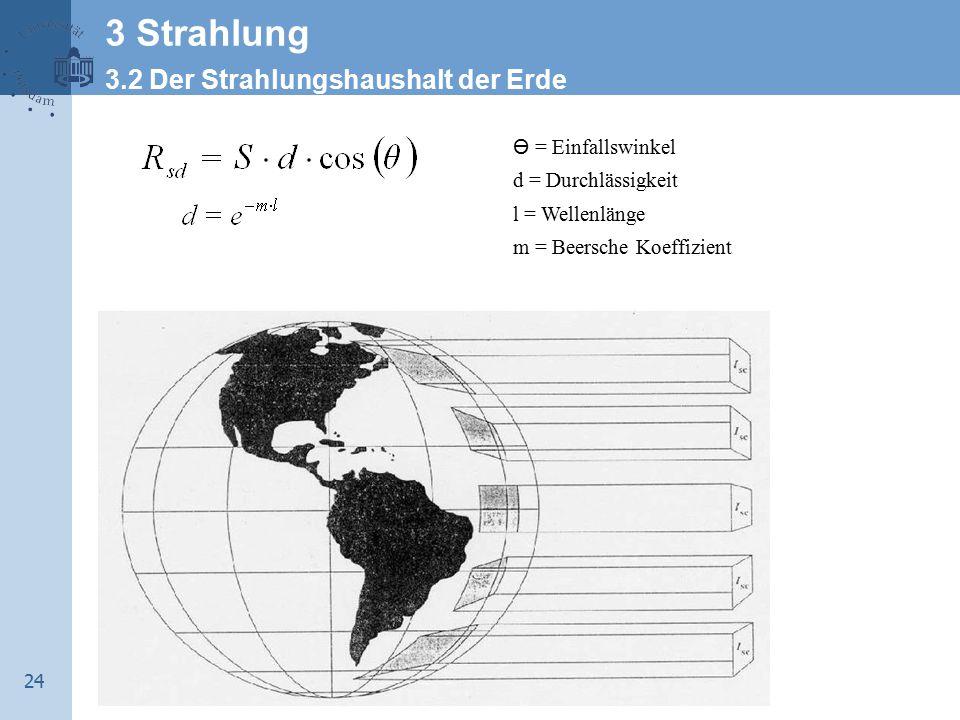 24 Ө = Einfallswinkel d = Durchlässigkeit l = Wellenlänge m = Beersche Koeffizient 3 Strahlung 3.2 Der Strahlungshaushalt der Erde