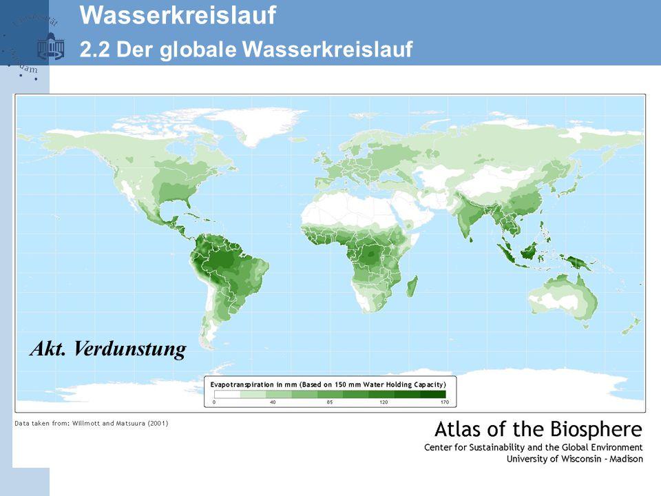 Wasserkreislauf 2.2 Der globale Wasserkreislauf Akt. Verdunstung