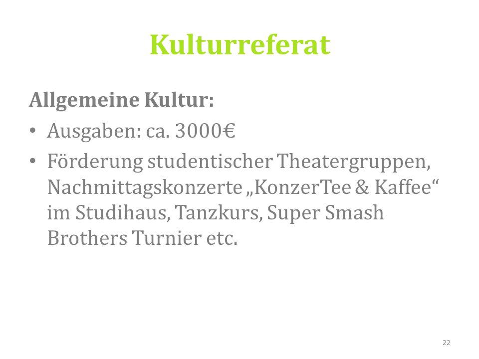 Kulturreferat Allgemeine Kultur: Ausgaben: ca.