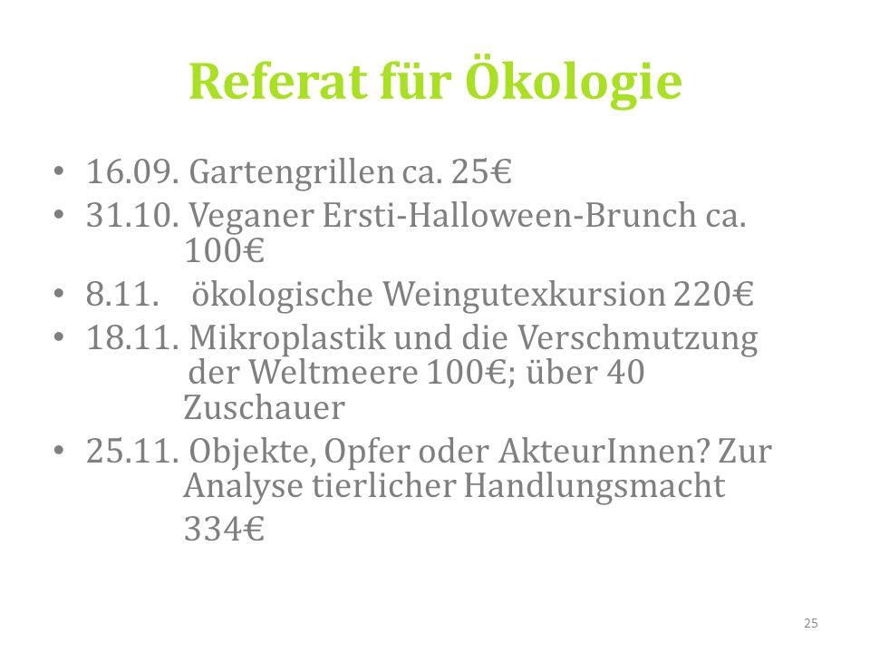 16.09. Gartengrillen ca. 25€ 31.10. Veganer Ersti-Halloween-Brunch ca.