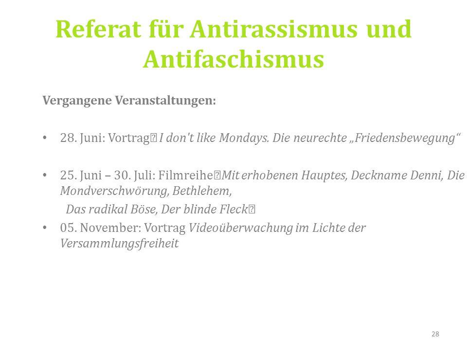 Referat für Antirassismus und Antifaschismus Vergangene Veranstaltungen: 28.