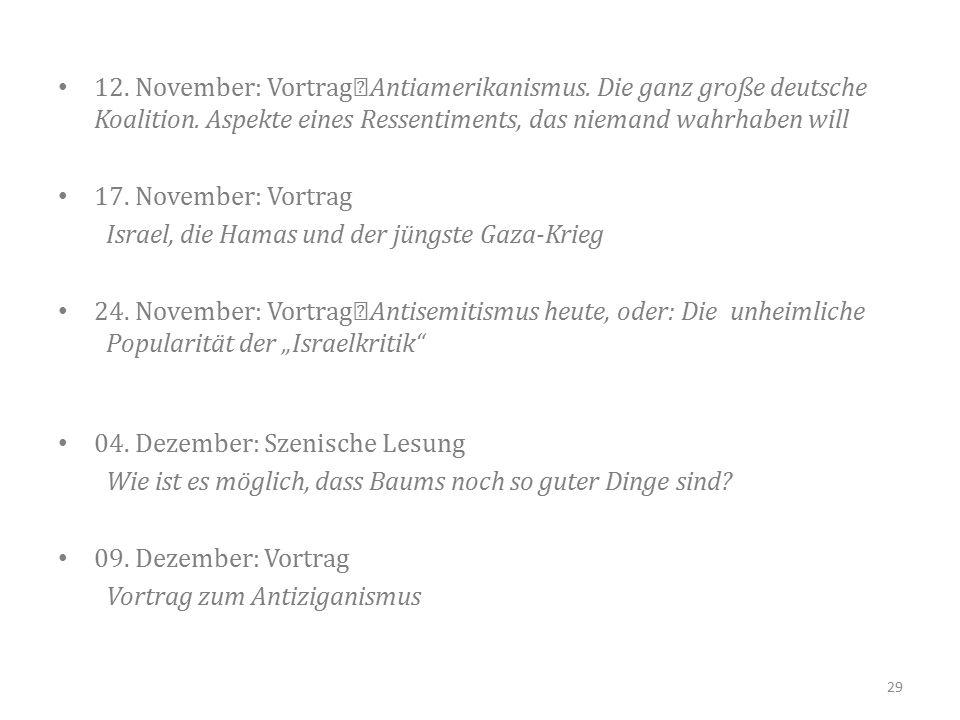 12. November: Vortrag Antiamerikanismus. Die ganz große deutsche Koalition.