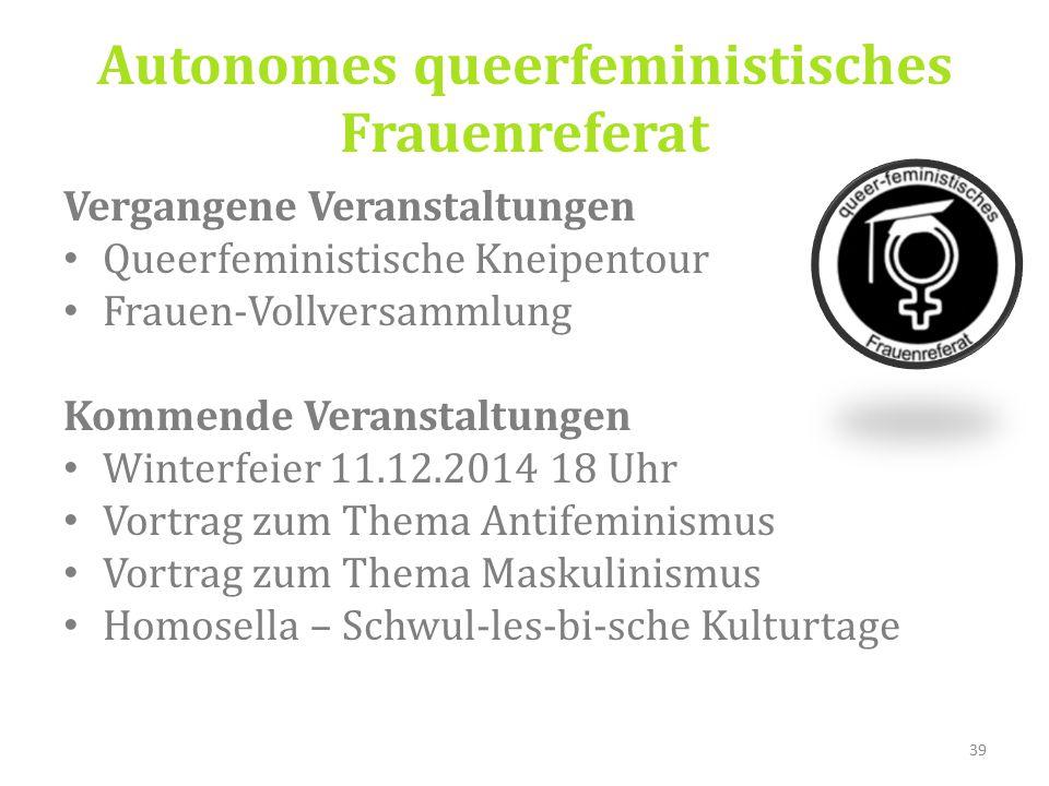 Vergangene Veranstaltungen Queerfeministische Kneipentour Frauen-Vollversammlung Kommende Veranstaltungen Winterfeier 11.12.2014 18 Uhr Vortrag zum Thema Antifeminismus Vortrag zum Thema Maskulinismus Homosella – Schwul-les-bi-sche Kulturtage 39 Autonomes queerfeministisches Frauenreferat