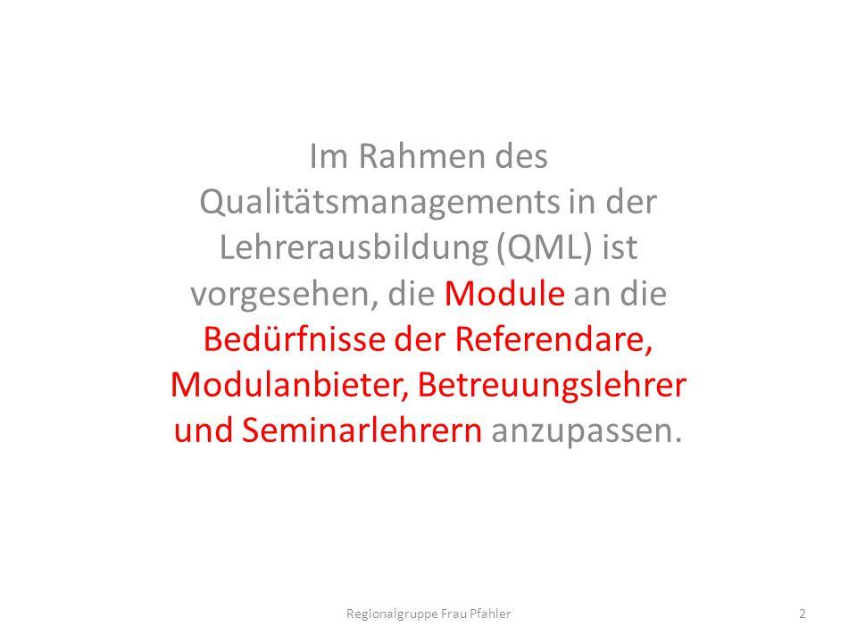 Im Rahmen des Qualitätsmanagements in der Lehrerausbildung (QML) ist vorgesehen, die Module an die Bedürfnisse der Referendare, Modulanbieter, Betreuu