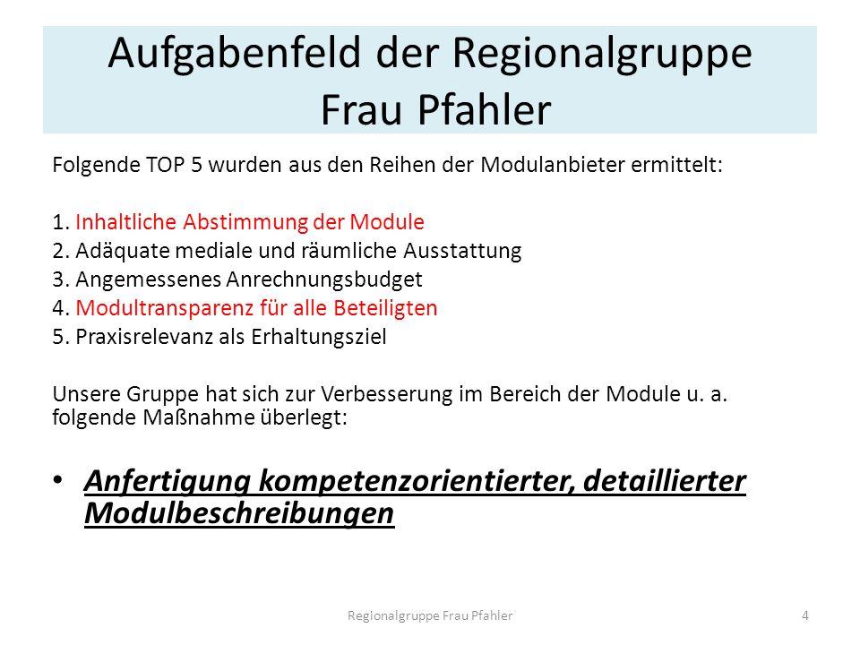 Aufgabenfeld der Regionalgruppe Frau Pfahler Folgende TOP 5 wurden aus den Reihen der Modulanbieter ermittelt: 1. Inhaltliche Abstimmung der Module 2.