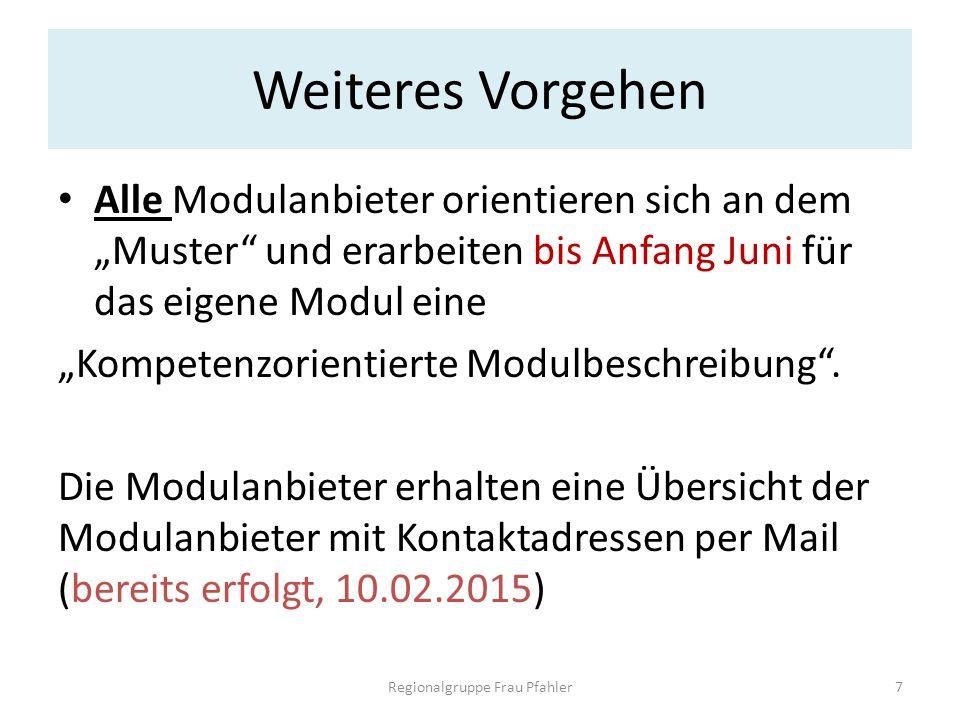 """Weiteres Vorgehen Alle Modulanbieter orientieren sich an dem """"Muster"""" und erarbeiten bis Anfang Juni für das eigene Modul eine """"Kompetenzorientierte M"""