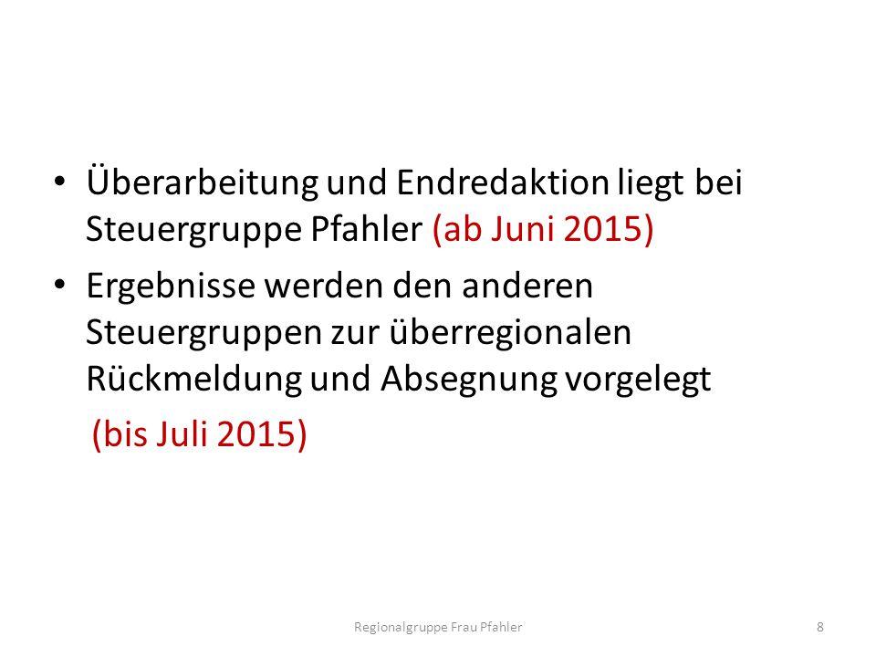 Überarbeitung und Endredaktion liegt bei Steuergruppe Pfahler (ab Juni 2015) Ergebnisse werden den anderen Steuergruppen zur überregionalen Rückmeldun