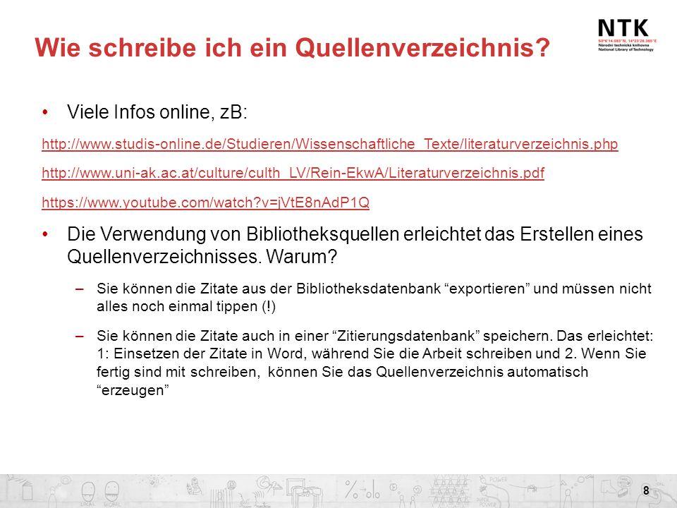 Wie schreibe ich ein Quellenverzeichnis? Viele Infos online, zB: http://www.studis-online.de/Studieren/Wissenschaftliche_Texte/literaturverzeichnis.ph