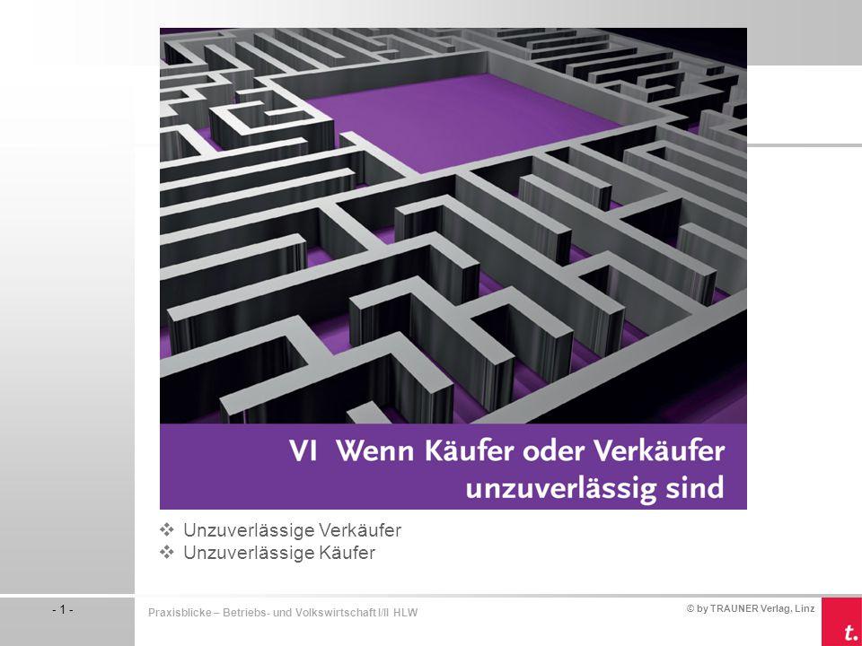 © by TRAUNER Verlag, Linz - 2 - Praxisblicke – Betriebs- und Volkswirtschaft I/II HLW  Lieferverzug  Lieferung man- gelhafter Ware  Fehlerhafte Rechnung Unzuverlässige Verkäufer