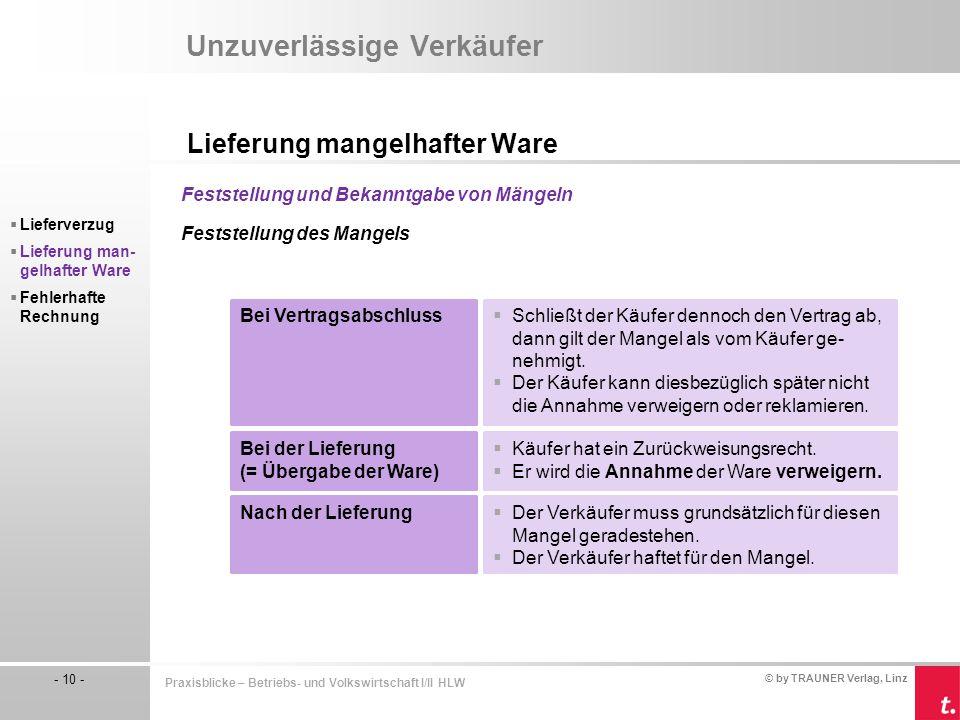 © by TRAUNER Verlag, Linz - 10 - Praxisblicke – Betriebs- und Volkswirtschaft I/II HLW Unzuverlässige Verkäufer Lieferung mangelhafter Ware  Lieferve