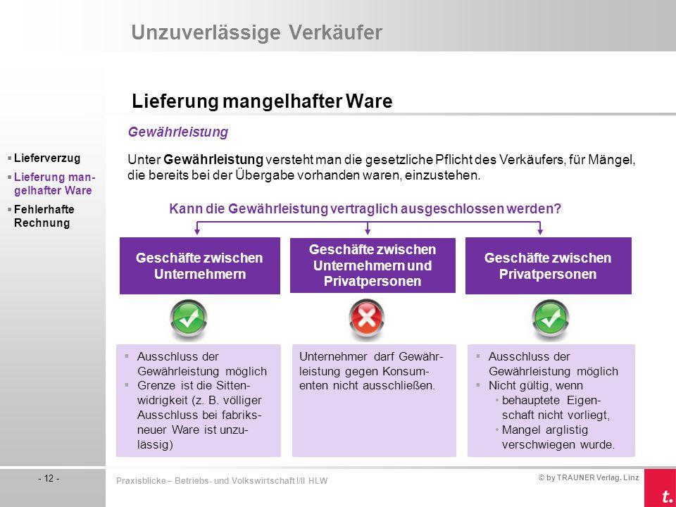 © by TRAUNER Verlag, Linz - 12 - Praxisblicke – Betriebs- und Volkswirtschaft I/II HLW Unzuverlässige Verkäufer Lieferung mangelhafter Ware  Lieferve