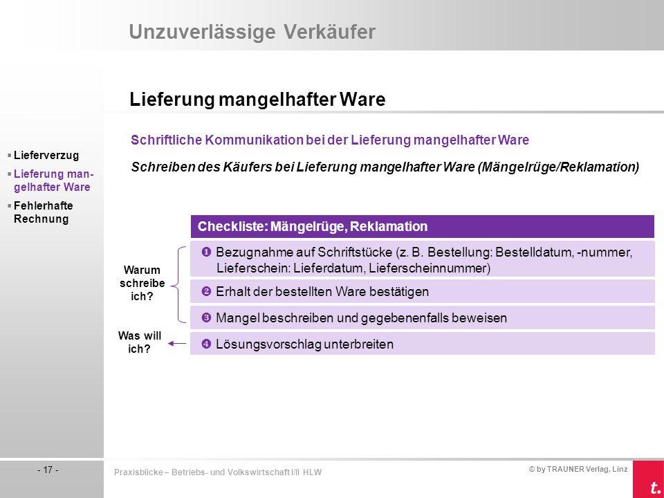 © by TRAUNER Verlag, Linz - 17 - Praxisblicke – Betriebs- und Volkswirtschaft I/II HLW Unzuverlässige Verkäufer Lieferung mangelhafter Ware  Lieferve