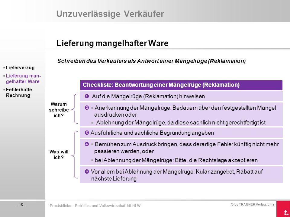 © by TRAUNER Verlag, Linz - 18 - Praxisblicke – Betriebs- und Volkswirtschaft I/II HLW Unzuverlässige Verkäufer Lieferung mangelhafter Ware  Lieferve