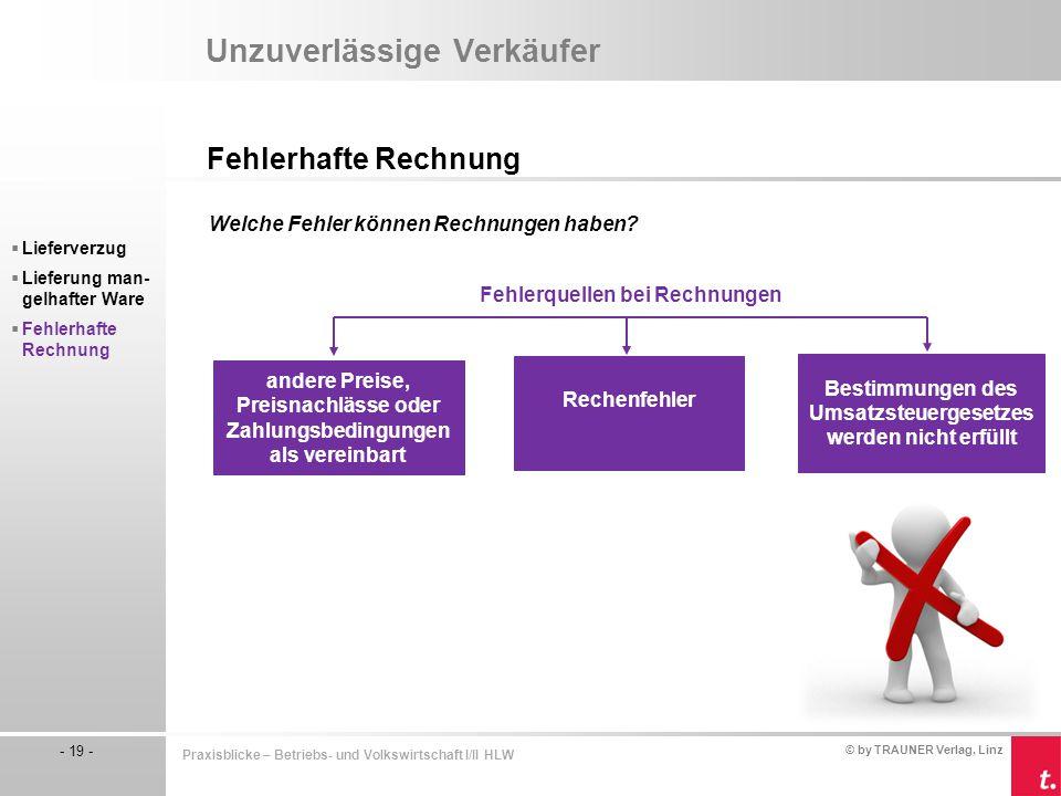 © by TRAUNER Verlag, Linz - 19 - Praxisblicke – Betriebs- und Volkswirtschaft I/II HLW Unzuverlässige Verkäufer Fehlerhafte Rechnung  Lieferverzug 