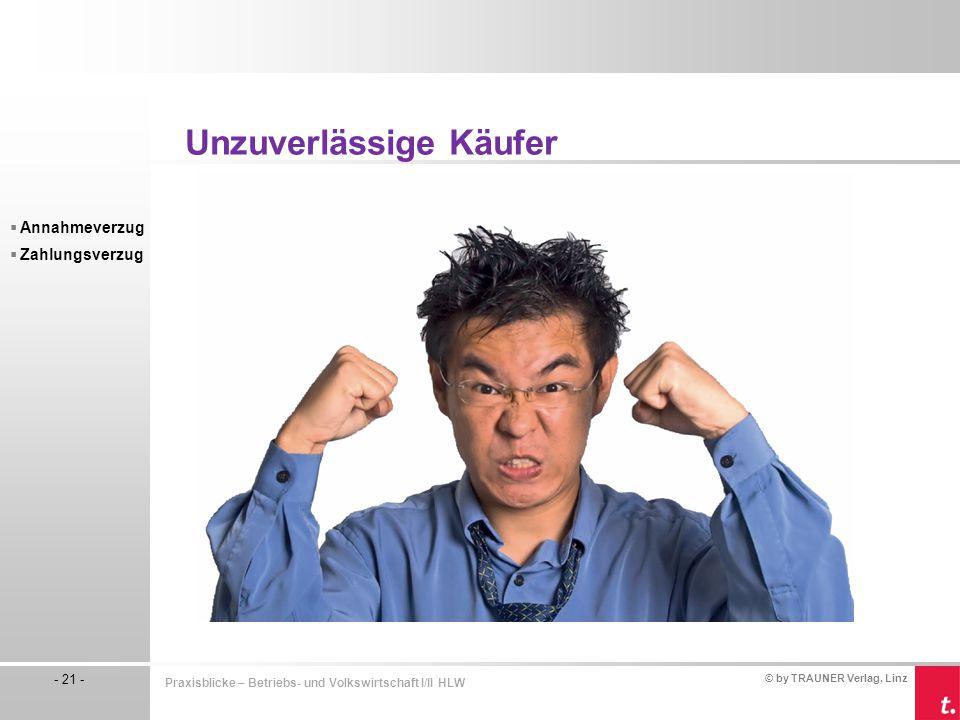 © by TRAUNER Verlag, Linz - 21 - Praxisblicke – Betriebs- und Volkswirtschaft I/II HLW  Annahmeverzug  Zahlungsverzug Unzuverlässige Käufer