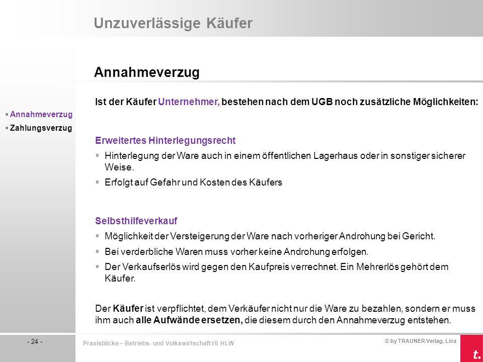 © by TRAUNER Verlag, Linz - 24 - Praxisblicke – Betriebs- und Volkswirtschaft I/II HLW Unzuverlässige Käufer Annahmeverzug  Annahmeverzug  Zahlungsv
