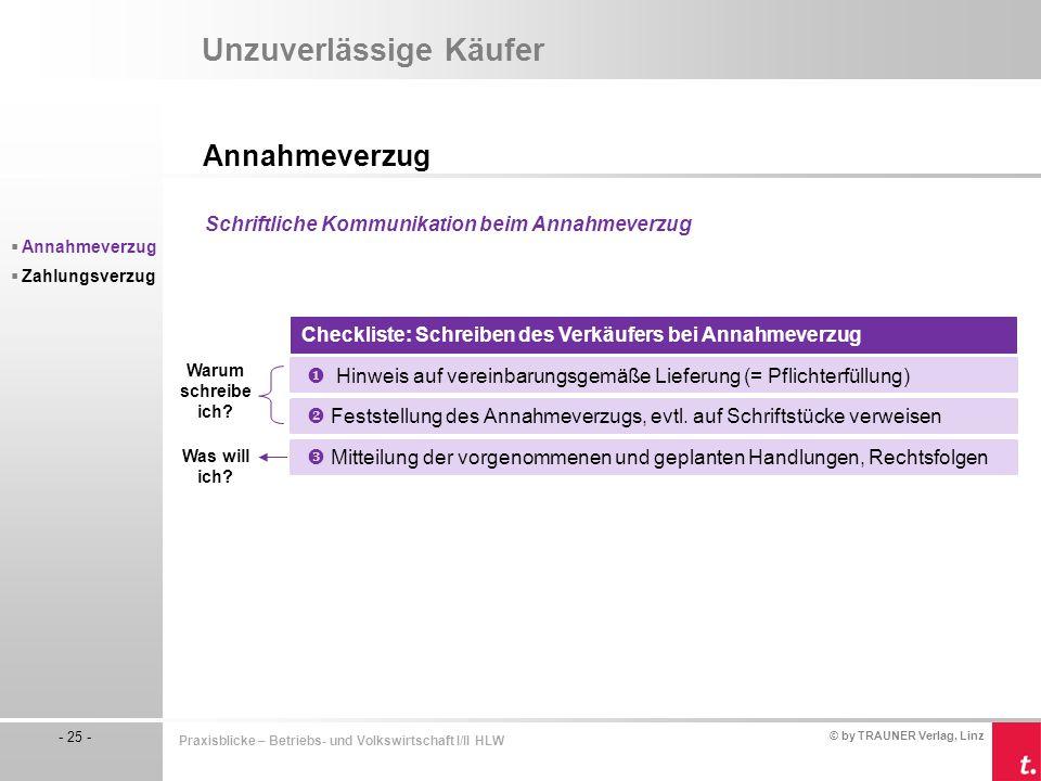 © by TRAUNER Verlag, Linz - 25 - Praxisblicke – Betriebs- und Volkswirtschaft I/II HLW Unzuverlässige Käufer Annahmeverzug  Annahmeverzug  Zahlungsv