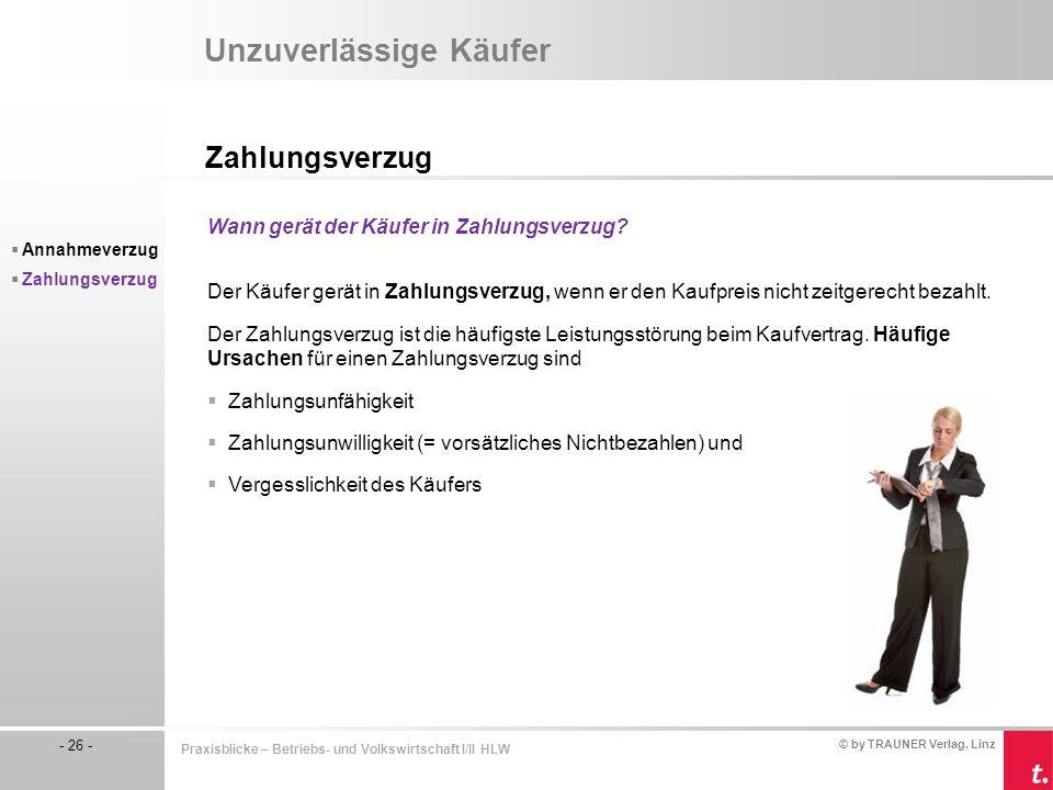© by TRAUNER Verlag, Linz - 26 - Praxisblicke – Betriebs- und Volkswirtschaft I/II HLW Unzuverlässige Käufer Zahlungsverzug  Annahmeverzug  Zahlungs