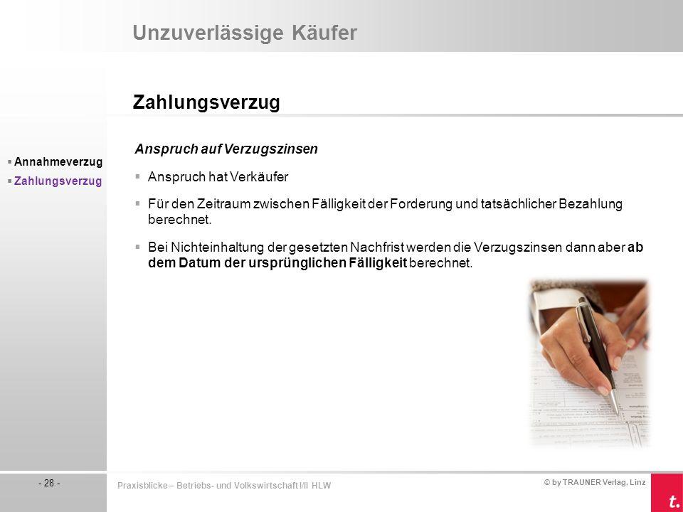© by TRAUNER Verlag, Linz - 28 - Praxisblicke – Betriebs- und Volkswirtschaft I/II HLW Unzuverlässige Käufer Zahlungsverzug  Annahmeverzug  Zahlungs